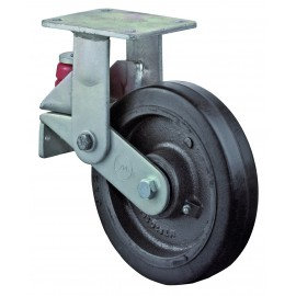 Spring mounted heavy duty castor