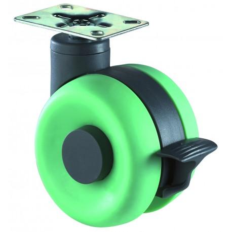 Plastic dual castor with brake