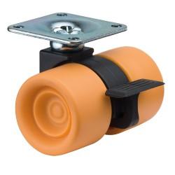 Roulette synthétique à double roue et frein
